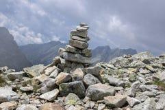 Stone cairns in Tatra mountains, Slovakia, harmony and balance under mount Rysy. Stone way Stock Photography