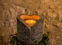 Stone candle holder Royalty Free Stock Photo