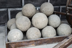 Stone cannon ball heap group Royalty Free Stock Images