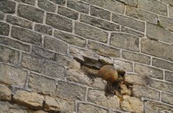 Stone cannonball. Jammed in castel wall in perrigord in france Stock Photography
