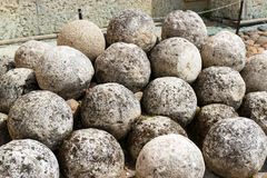 Stone cannonballs in the Kremlin in Novgorod the Great Stock Photos