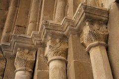 Stone carved decoration column. Romanic style basilica in Cisnadioara Sibiu Transylvania Romania Stock Photography
