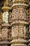 Stone carved erotic bas relief in Hindu temple Stock Image