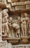 Stone carved erotic bas relief in Hindu temple in Stock Photography