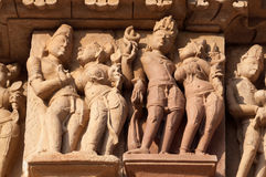 Stone carved erotic sculptures on JainTemples. Khajuraho Royalty Free Stock Images
