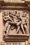 Stone carved erotic sculptures on Kandariya Mahadeva temple. Khajuraho Royalty Free Stock Photography