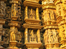 Stone carved erotic sculptures in Khajuraho Royalty Free Stock Photography