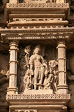 Stone carved erotic sculptures on Vamana Temple. Khajuraho Stock Images