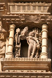Stone carved erotic sculptures on Vamana Temple. Khajuraho Royalty Free Stock Photos