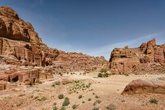 Stone carved king tombs in the ancient city of Petra stock images