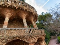 Colonnade terrace, park Guell in Barcelona. Stone carved leaning columns of colonnade terrace designed by Gaudi, Park Guell, Barcelona, Catalonia, Spain Stock Photography