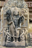 Stone carved  relief in Hindu temple in Khajuraho, India. Unesco Royalty Free Stock Images