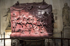 Stone Carved Sarcophagus  in the Vatican Museums in the Vatican City in Rome Italy Royalty Free Stock Image