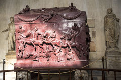 Stone Carved Sarcophagus  in the Vatican Museums in the Vatican City in Rome Italy Royalty Free Stock Photography