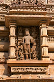 Stone carved sculpture of Male Deity on Lakshmana temple. Khajuraho Royalty Free Stock Images
