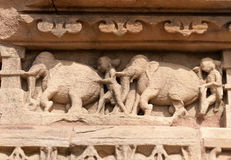 Stone carved sculptures on Kandariya Mahadeva temple. Khajuraho Stock Photo