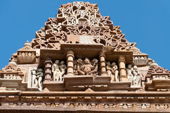 Stone carved sculptures on Kandariya Mahadeva temple. Khajuraho Stock Images