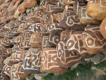 Stone carved with symbols of prosperity_4 Royalty Free Stock Image