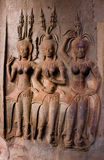 Stone Carved at the wall of Angkor Wat Stock Images