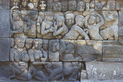 Stone carves on the wall of borobudur Stock Image
