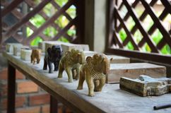 stone carving(elephants) Stock Photography