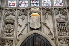 Stone Carving Above Door of Kings College Chapel Stock Photo