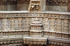 Stone carving at Adalaj Step well royalty free stock image