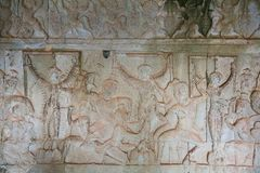 Free Stone Carving, All Around On The Wall At Angkor Wat Stock Image - 145087091