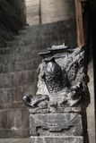 Stone carving in a ancient architecture,Carp jumping dragon gate,shanxi,china royalty free stock photos