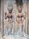 Stone carving of angels at Angkor Wat, Cambodia Royalty Free Stock Photos
