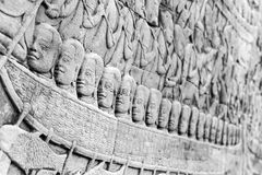 Stone carving in Angkor Thom Royalty Free Stock Photos