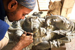 Stone carving artist from India Stock Images
