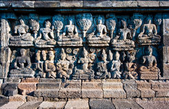 Stone carving at Borobudur temple Stock Images