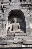 Stone carving of Buddha in Borobudur, Indonesia Royalty Free Stock Photography