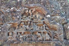 Stone carving in Chau Say Thevoda Castle, Stock Photo