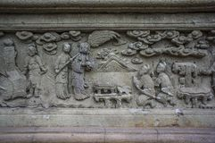 Stone carving Chinese art around Thai temple in Wat Pichaya-yatogaram Stock Photography