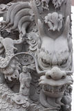 Stone carving Dragon sculpture pole Royalty Free Stock Images