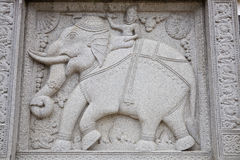 Stone carving of elephant in buddhist temple Royalty Free Stock Photos