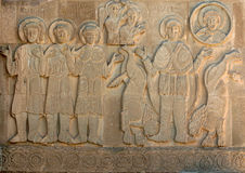 A stone carving on the exter wall of the magnificent Akdamar Killisesi on Akdamar Island on Lake Van in eastern Turkey. Stock Photography