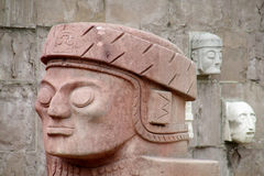 Stone carving face from Tiwanaku archaeological site Stock Image