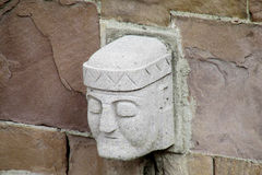 Stone carving face from Tiwanaku archaeological site Royalty Free Stock Photos