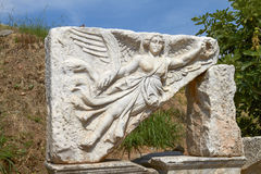 Stone Carving of the Goddess Nike in Ancient Ephesus Turkey Stock Photos