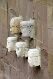 Stone carving heads from Tiwanaku archaeological site Royalty Free Stock Photo