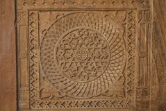 Stone carving in Indian style - geometric shapes, circle inside stock image
