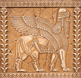 Stone Carving Lamassu or Shedu in Mesopotamia mitology Royalty Free Stock Photo