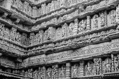 Stone carving at Patan step well. Royalty Free Stock Images