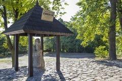 Stone carving of pilgrim Emeric in Nowa Slupia, Poland Royalty Free Stock Photography