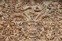 Stone carving at Prasat Sikhoraphun temple, Surin, Thailand Stock Photography