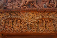Stone carving on red sandstone doorways Royalty Free Stock Images