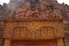 Stone carving on red sandstone doorways Royalty Free Stock Photography